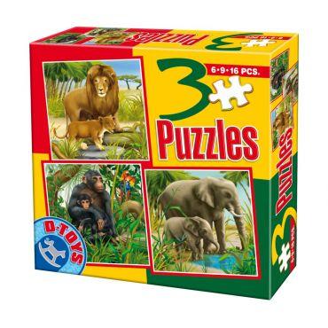3 Puzzle Animale Salbatice (6,9,16 pcs) 2