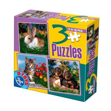 3 Puzzle Animale Domestice Foto (6,9,16 pcs)  2