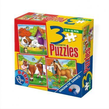 3 Puzzle Magnetic Animale (6,9,16 pcs)