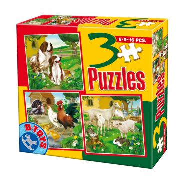 3 Puzzle Animale Domestice (6,9,16 pcs) 1