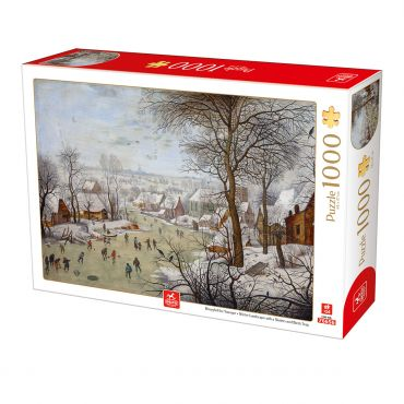 Puzzle Pieter Breughel the Younger - Winter Landscape with Skaters and Birds Trap - 1000 Piese
