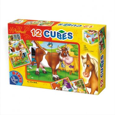 Cuburi 12 piese - Animale